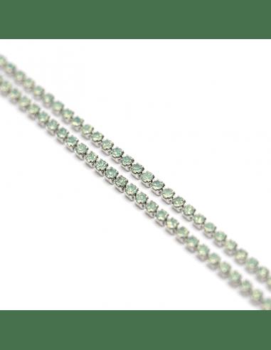 Цепь стразовая green opal - родий 1мм...